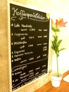 Kaffeeangebot im Bioladen Tegeler Str