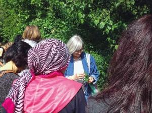 Sara Meiers (Mitte) zeigt, was an der Panke wächst. Foto: Simone Lindow