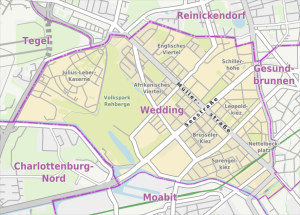 Ortsteil Wedding. Karte: Alexrk2, using Openstreetmap, CC BY-SA 3.0 Wikimedia