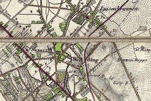 Statt Gesundbrunnen heißt es Luisenbrunnen auf einer Karte aus dem Jahr 1842. Gemeinfrei