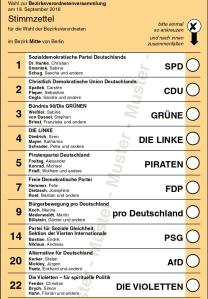 Muster Stimmzettel für Wahl BVV-Mitte. Grafik: Landeswahlleiter.